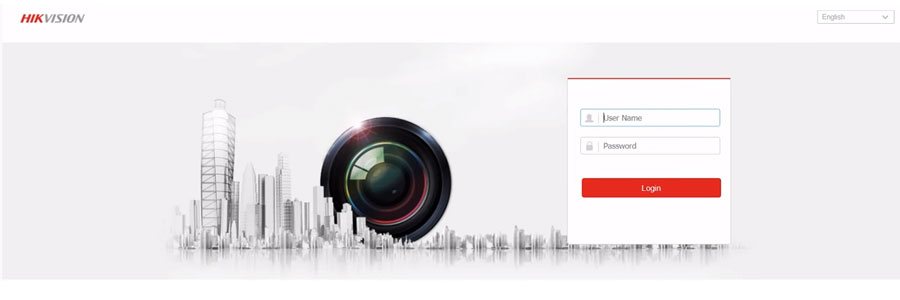 Hikvision camera inlogscherm