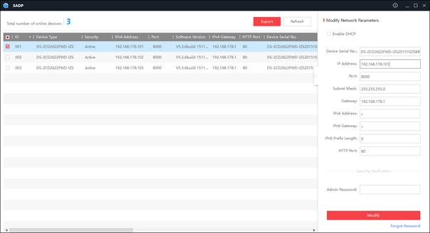 Hikvision SADP software